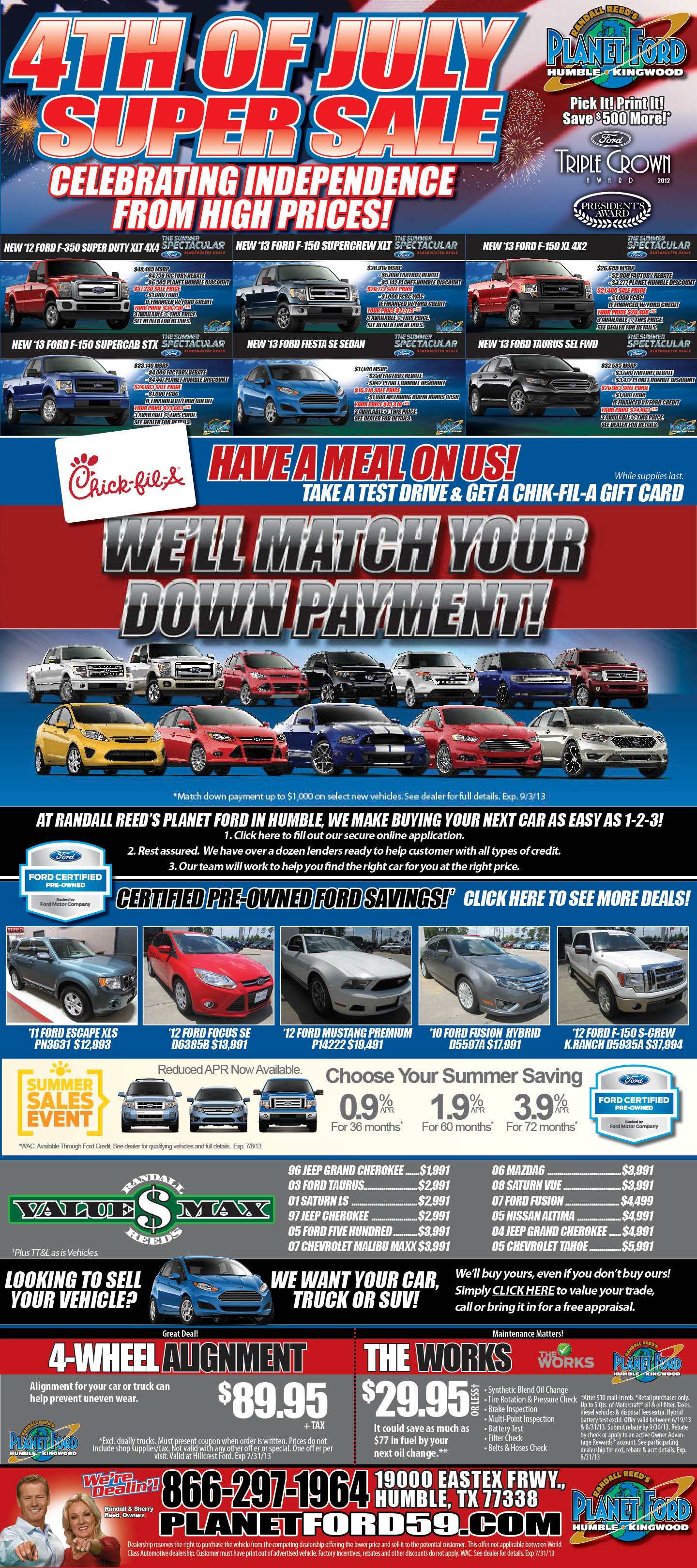 """Planet Ford Humble Tx >> Planet Ford 59 Ford """"Sellebrates"""" Freedom From High Prices"""