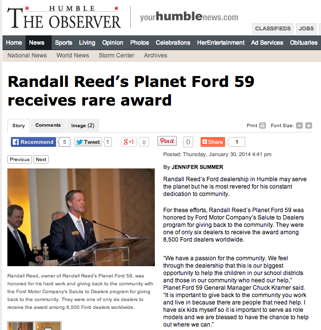 Randall reed makes headlines for receiving ford 39 s rare for Ford motor company news headlines
