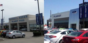 Sneak peek of front of Planet Ford dealership, before and after.