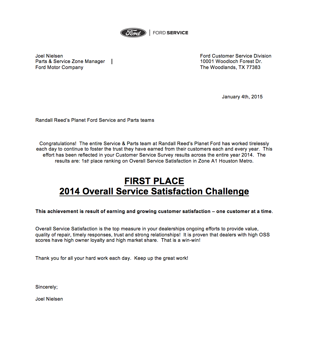 Planet ford service quick lane bring home 1 customer for Ford motor company customer satisfaction survey